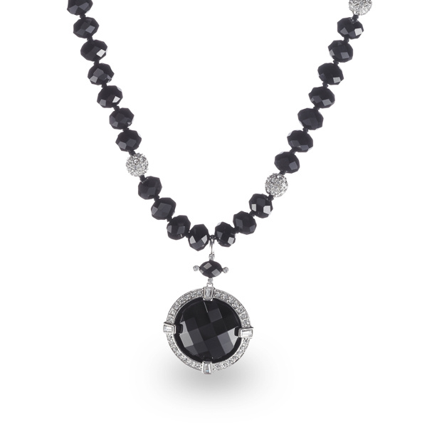 Rhodium Plated Jet Black Crystal Necklace