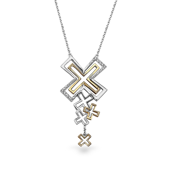 Two Tone Plated Kisses Necklace
