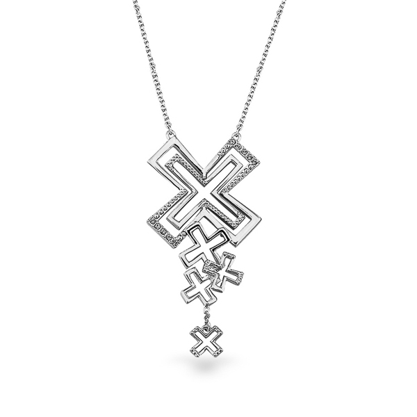 Rhodium Plated Kisses Necklace