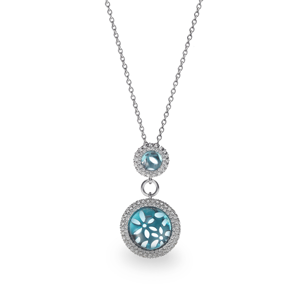 Rhodium Plated Aqua Flower Crystal Necklace