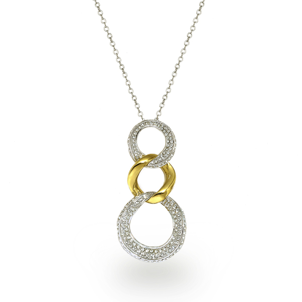 Two Tone Plated Triple Loop Crystal Necklace