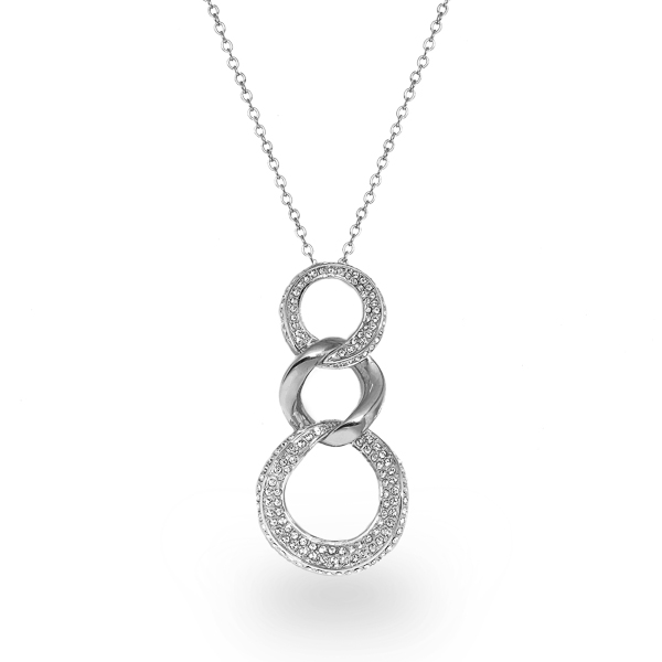 Rhodium Plated Triple Loop Crystal Necklace