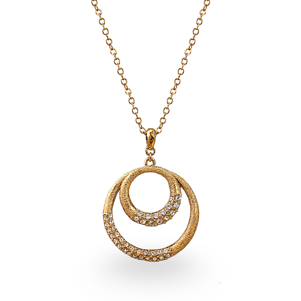 14K Gold Plated Diamond Texture Circles Necklace