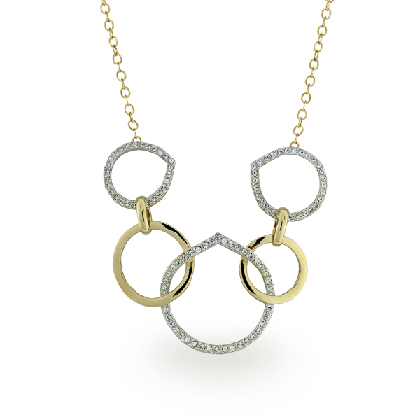Two Tone Plated Crystal Loops Necklace