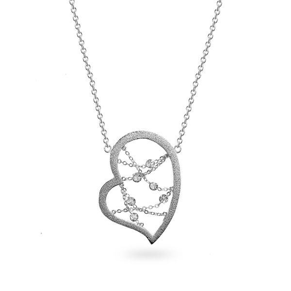 Rhodium Plated Open Heart Crystal Necklace
