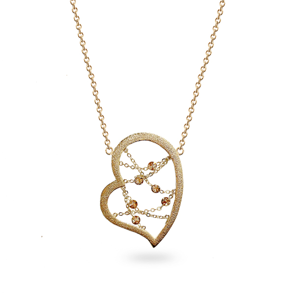 14K Gold Plated Open Heart Crystal Necklace