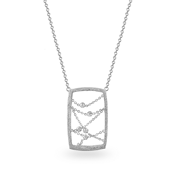 Rhodium Plated Open Rectangle Crystal Necklace