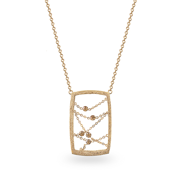 14K Gold Plated Open Rectangle Crystal Necklace