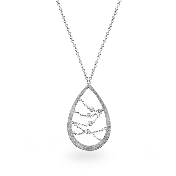 Rhodium Plated Open Tear Crystal Necklace