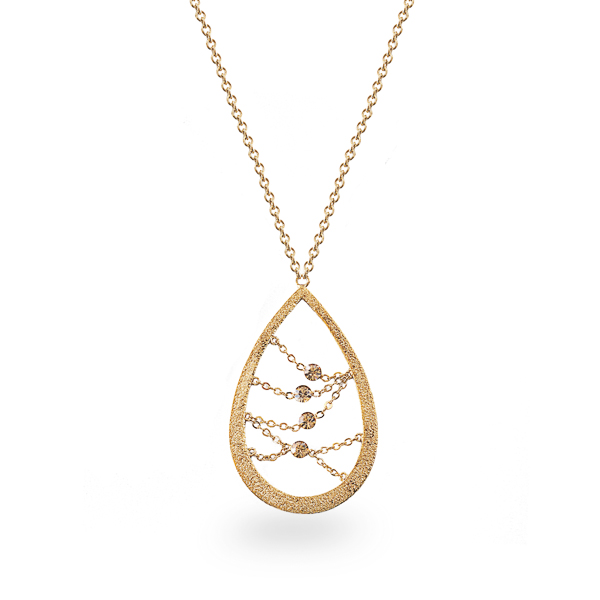14K Gold Plated Open Tear Crystal Necklace