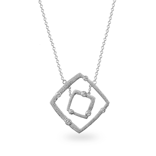 Rhodium Plated Open Square Crystal Necklace