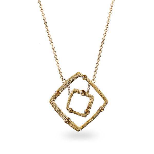 14K Gold Plated Open Square Crystal Necklace