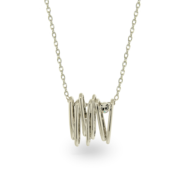 Rhodium Plated Coral Necklace