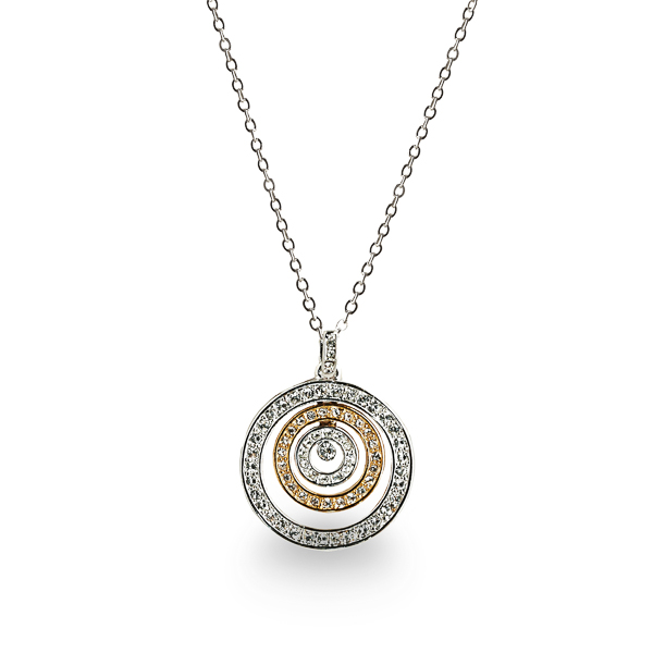 Two Tone Plated Crystal Inner Circles Necklace