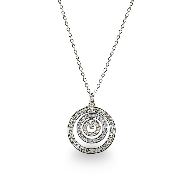 Rhodium Plated Crystal Inner Circles Necklace