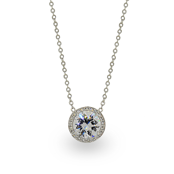 Rhodium Plated Classic Round Glass Stone and Crystal Necklace