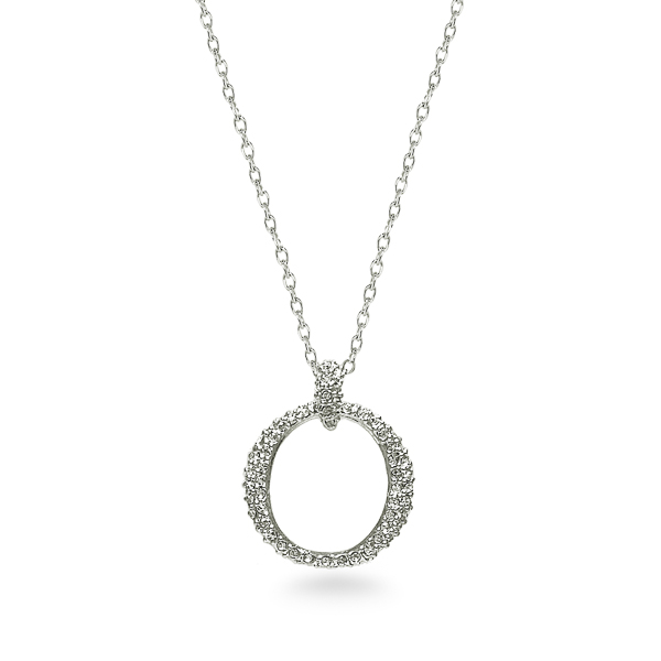 Rhodium Plated Crystal O Necklace