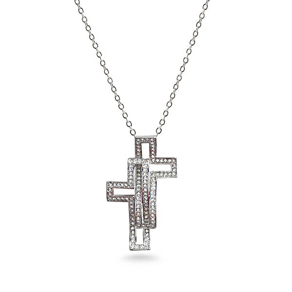 Rhodium Plated Crystal Cross Necklace