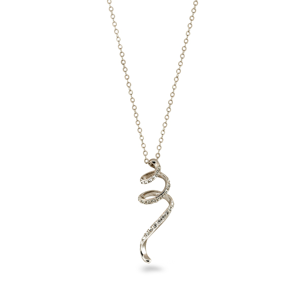 Rhodium Plated Crystal Swirl Necklace
