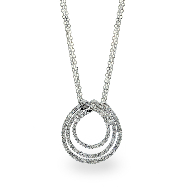 Rhodium Plated Crystal Tracks Necklace