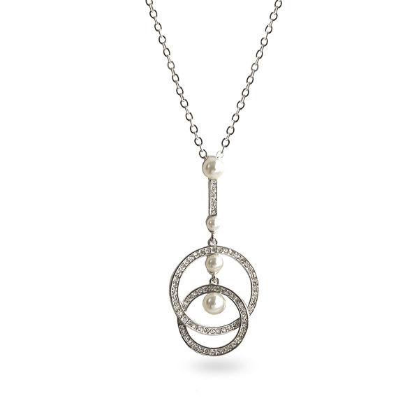 Rhodium Plated Crystal and Pearl Loop Necklace