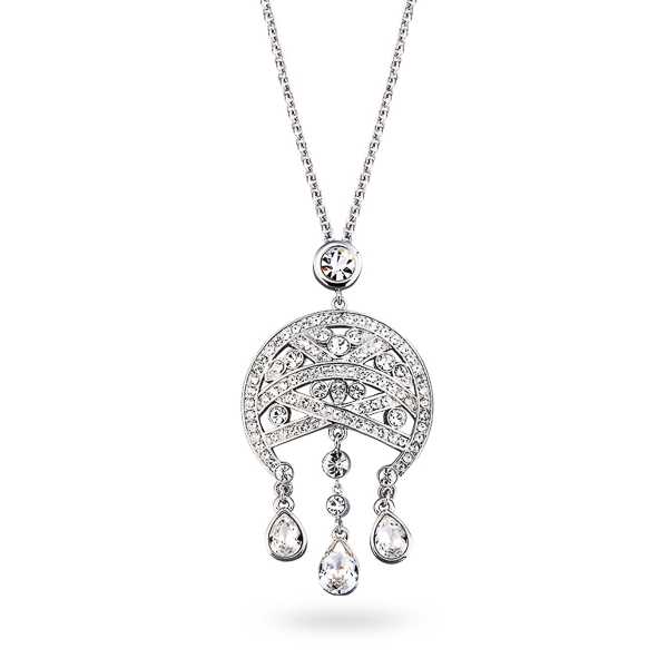Rhodium Plated Crystal Chandelier Necklace