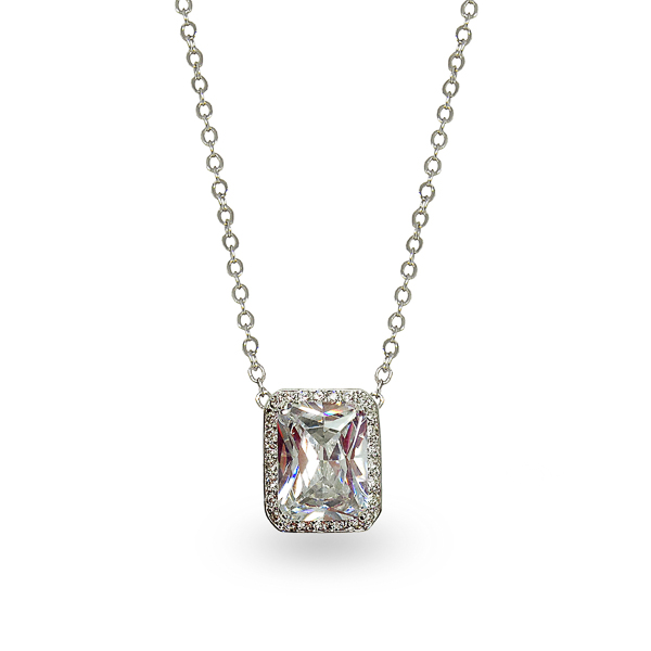 Rhodium Plated Classic Square Glass Stone and Crystal Necklace