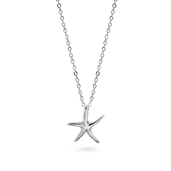 Rhodium Plated Small Star Fish Necklace