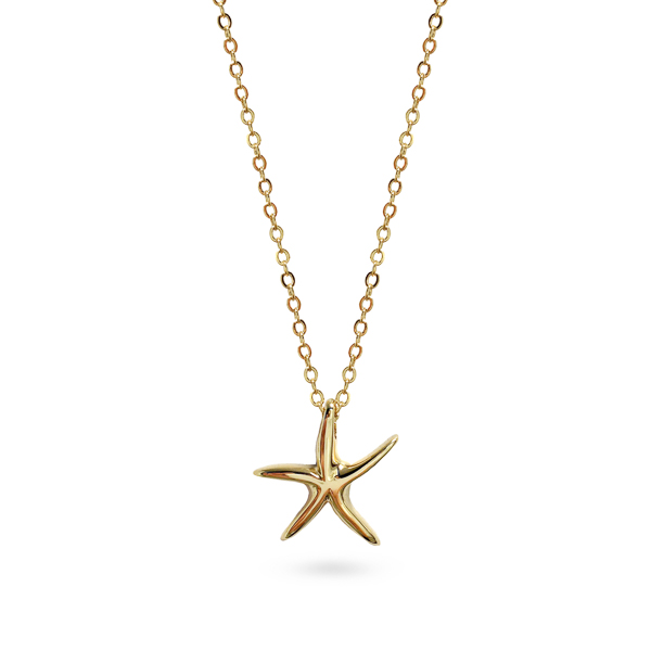 14K Gold Plated Small Star Fish Necklace