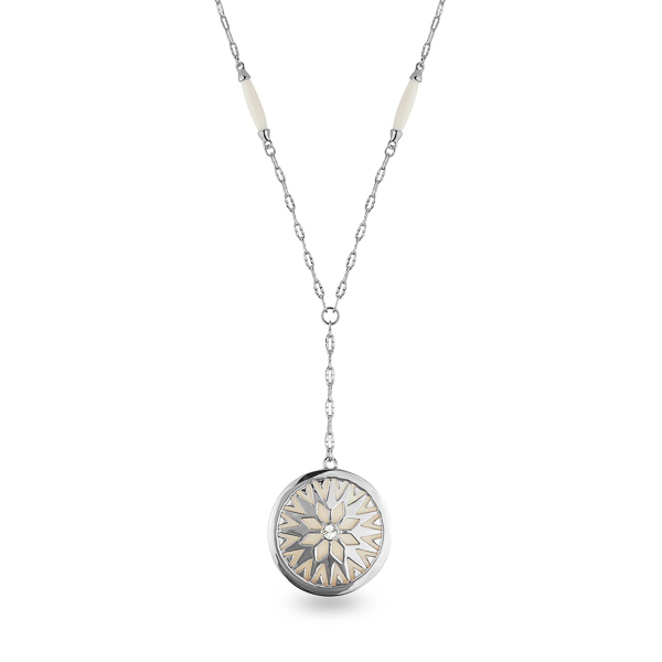 Rhodium Plated Mother of Pearl Sun Drop Necklace