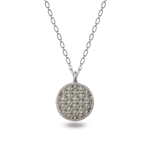 Rhodium Plated Net Crystal Necklace