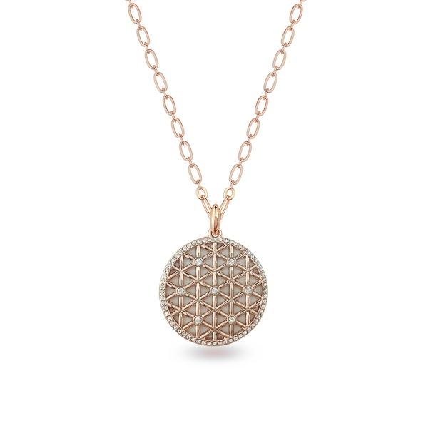 Rose Gold Plated Net Crystal Necklace