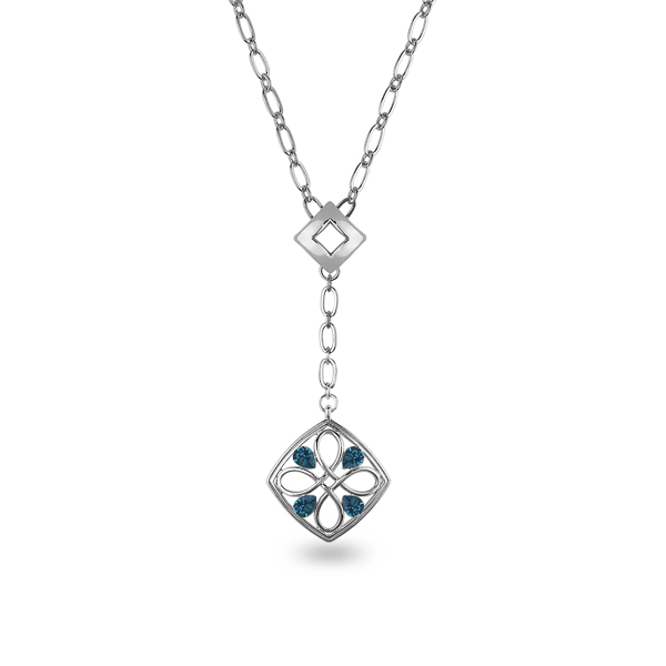 Rhodium Plated Drop Pendant Necklace
