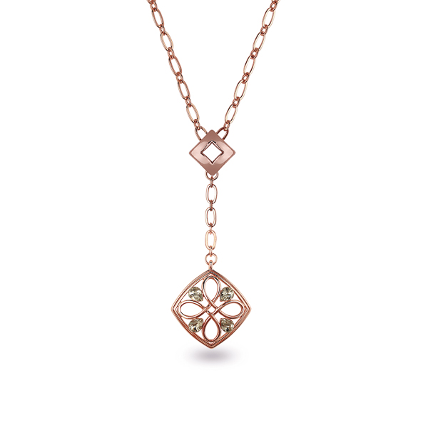 Rose Gold Plated Drop Pendant Necklace