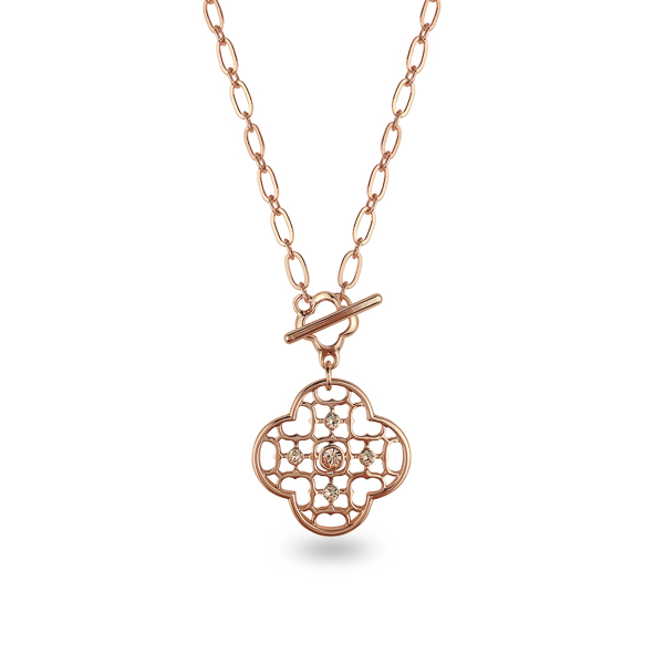 Rose Gold Plated Crystal Flower Emblem Necklace