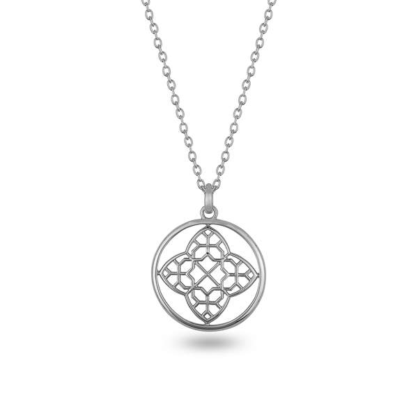 Rhodium Plated Filigree and Circle Necklace