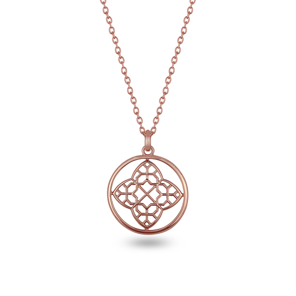 Rose Gold Plated Filigree and Circle Necklace