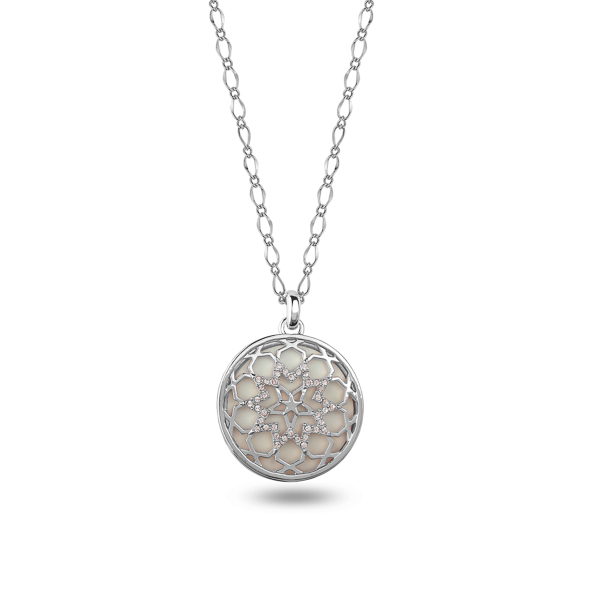 Rhodium Plated Star Filigree Crystal Necklace
