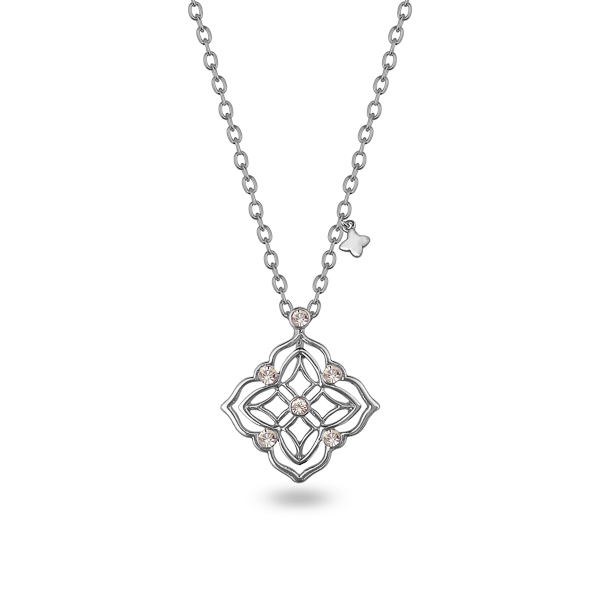 Rhodium Plated Filigree Diamond Crystal Necklace