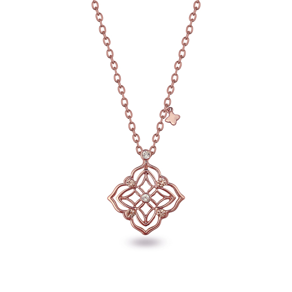 Rose Gold Plated Filigree Diamond Crystal Necklace