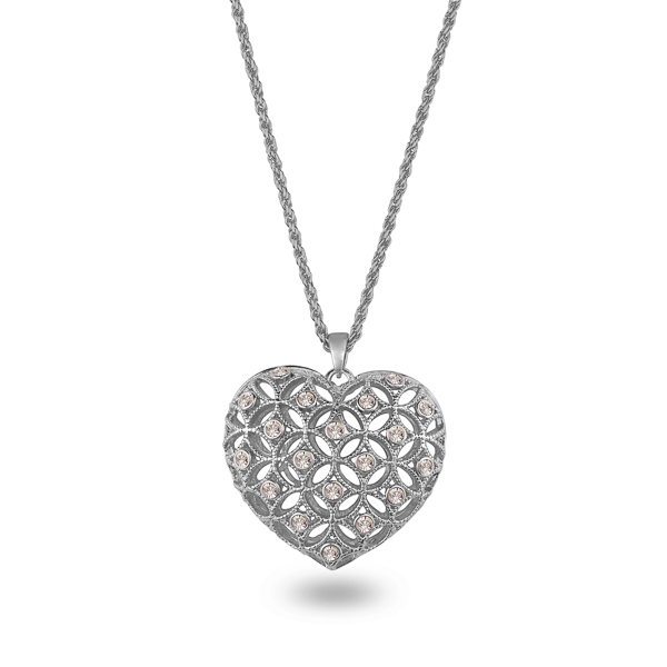 Rhodium Plated Crystal Net Heart Necklace