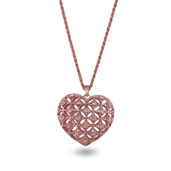 Rose Gold Plated Crystal Net Heart Necklace