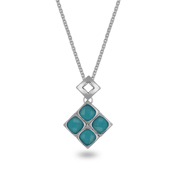 Rhodium Plated Blue Square Glass Stone Necklace