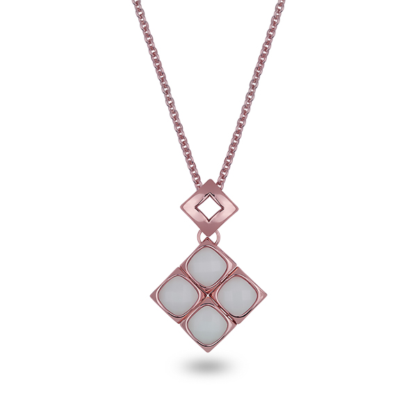Rose Gold Plated White Square Glass Stone Necklace