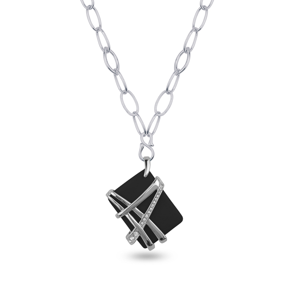 Rhodium Plated Black Resin Stone Statement Necklace