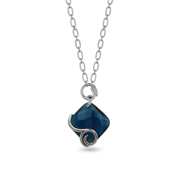 Rhodium Plated Square Resin Stone Spiral Necklace