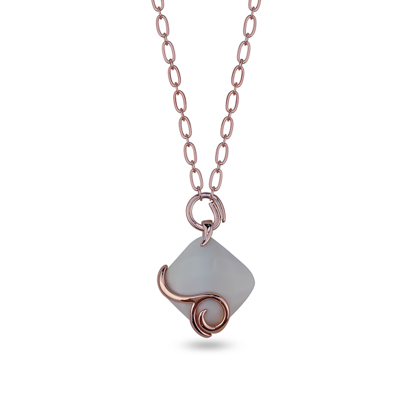 Rose Gold Plated Square Resin Stone Spiral Necklace