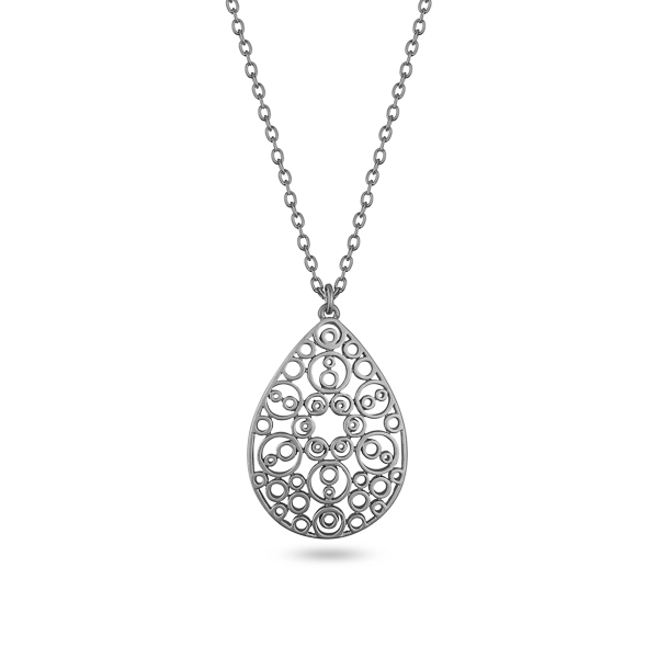 Silvertone Plated Teardrop Filigree Necklace