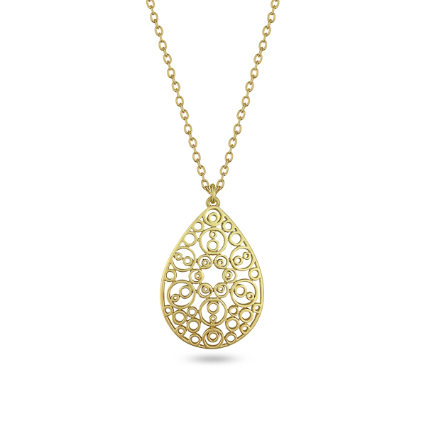 Goldtone Plated Teardrop Filigree Necklace