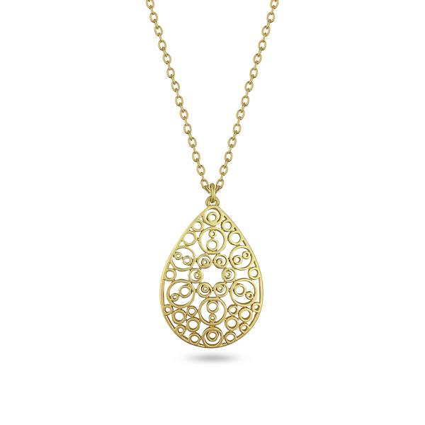 Goldtone Plated Teardrop Filigree Necklace